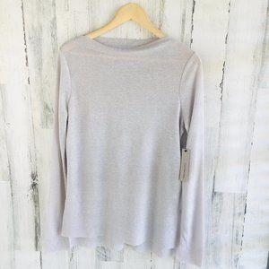 Calvin Klein Gray Slver Metallic Knit Top Boatneck